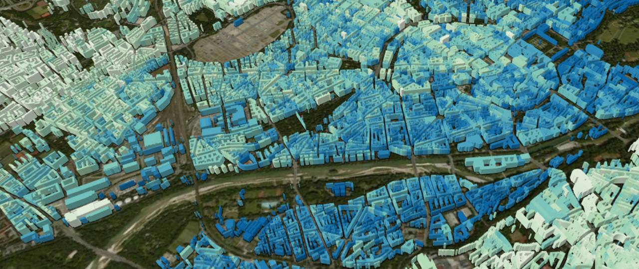 This image shows a section of a global 3D model of urban areas and was generated primarily using TanDEM-X Satellite data. To create this model for all cities in the world, sophisticated AI procedures are used. Image: Xiaoxiang Zhu, DLR/TUM